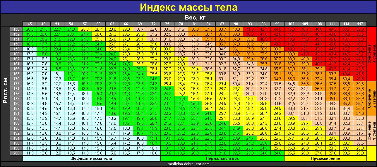 Индекс массы тела: нормальный вес и ожирение