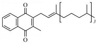 Витамин K1 или Филлохинон (лат. Phytonadione), (2-метил-3-[(2E)-3,7,11,15-тетраметилгексадек-2-ен-1-ил]нафтохинон)