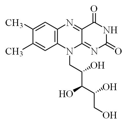 Формула молекулы витамина B2 (рибофлавина)